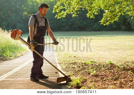 Professional gardener using an edge trimmer in the home garden