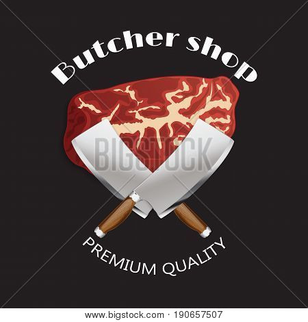 Meat butcher shop background poster. Simple Template.