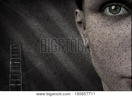 Surreal digital art. Woman's face and ladder. Picture is composed entirely of words.  3D rendering