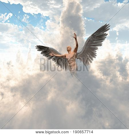 Surrealism. Naked man with angel's wings flies in cloudy sky.   3D rendering
