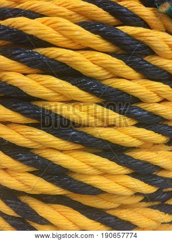 Close up on yellow and black rope
