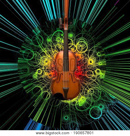 Digital modern painting. Violin on abstract background.  3D rendering