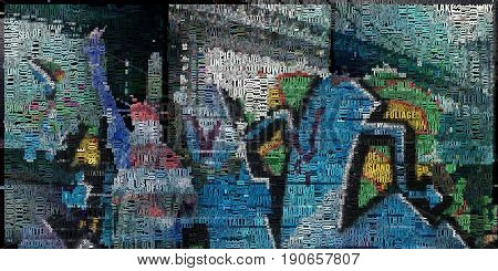 Abstract painting. Liberty statue, bridge and graffiti background. 3D Render. Composed entirely of words.  3D rendering