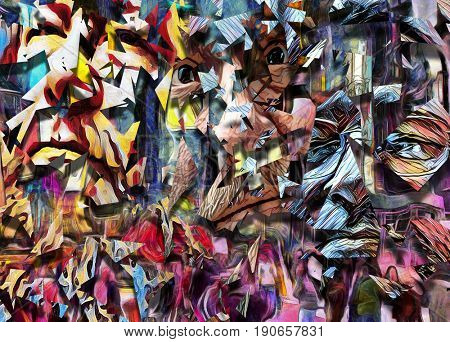Complex abstract painting. Colorful mosaic elements and pieces of men's faces.  3D rendering