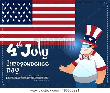 Man Wearing Digital 3d Galsses United States Independence Day Holiday Greeting Card Flat Vector Illustration
