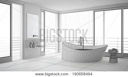 Unfinished project of minimalist bathroom with big window sketch abstract interior design