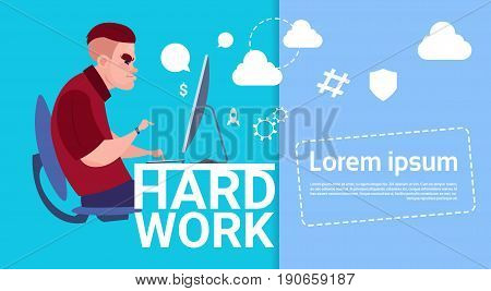 Business Man Working Computer Busy Hard Work Concept Banner With Copy Space Flat Vector Illustration