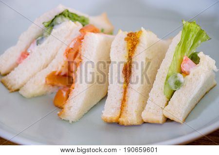 Delicious Sandwich With Ham Vegeable Bread On  White Dish , Home Made Sandwich, Health Food