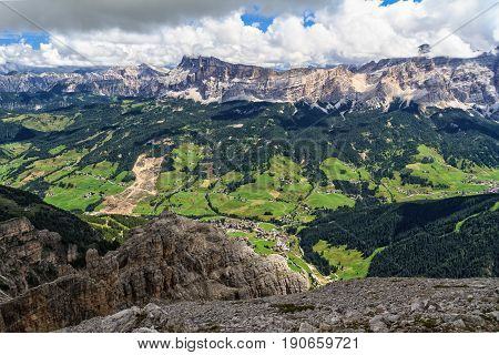 high Badia Valley with La Villa village Alto Adige Italy