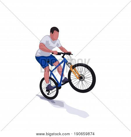 illustration of man riding on bicycle with shadow isolated on white background