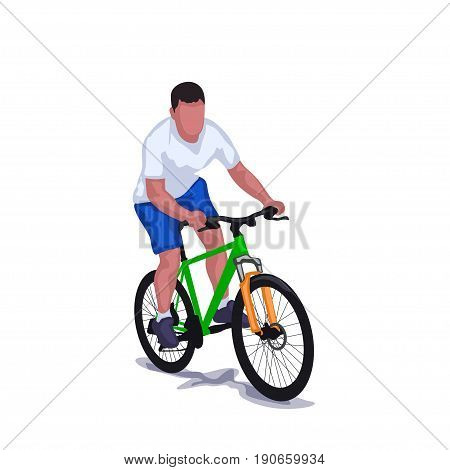 illustration of man riding bicycle isolated on white background