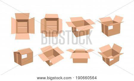 illustration of openned carton box set isolated on white background