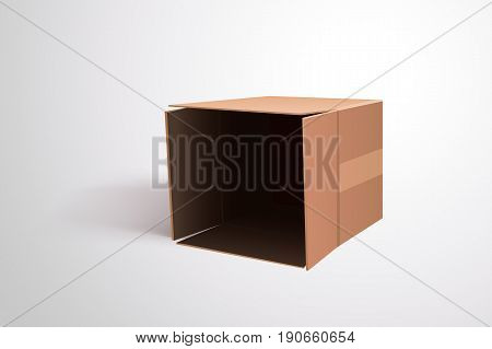 illustration of carton openned box lying on bright background with soft shadow