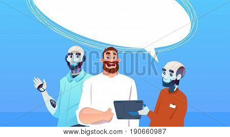 Chat Bot Robots And Man Using Tablet Computer Virtual Assistance Artificial Intelligence Concept Flat Vector Illustration