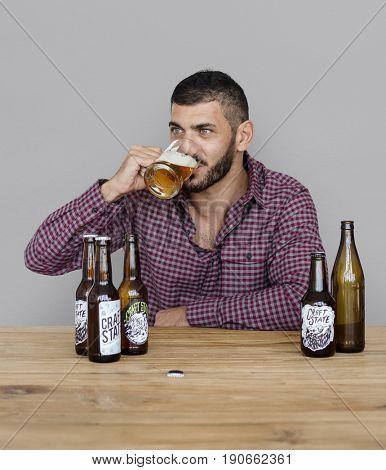 Middle Eastern Man Beer Drinks Alocohol Studio Portrait