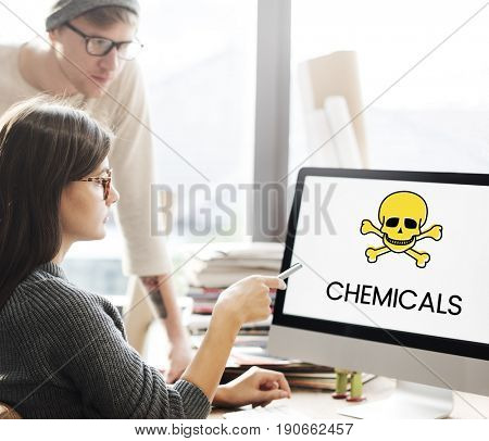 Digital device with the screen of skull icon and chemicals toxin word