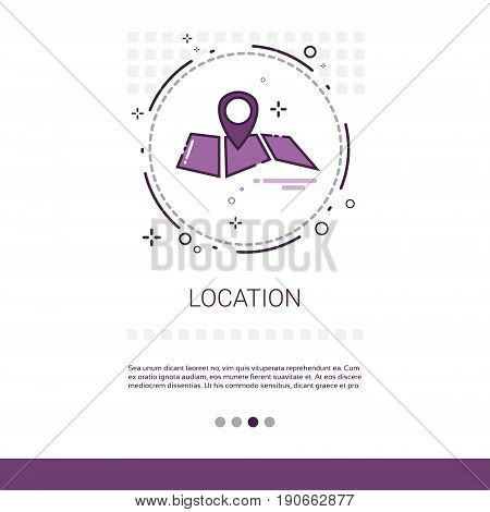 Map Navigation Location Position Web Banner With Copy Space Vector Illustration