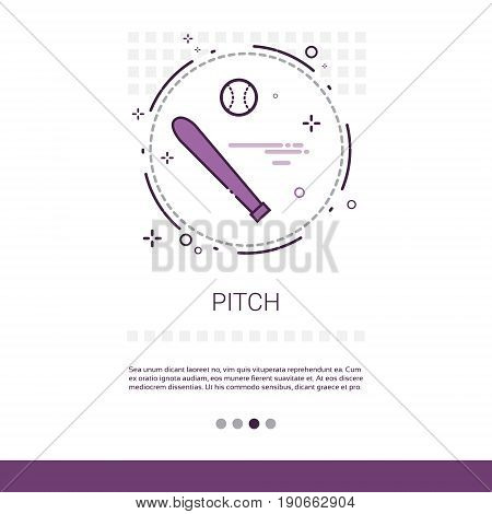 Pitch Bat Sport Game Web Banner With Copy Space Vector Illustration