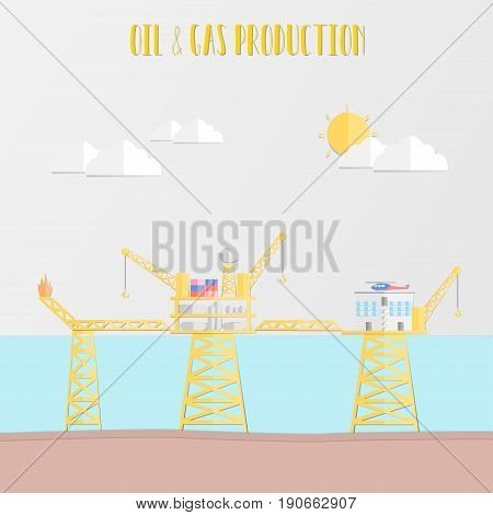 Oil industry Concept with oil and gas production platform living quarter and helicopter in the sea for production refinery oil and petrol. vector illustration flat design paper cut style.
