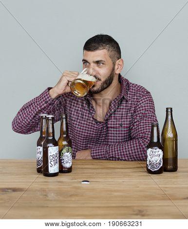 Middle Eastern Man Beer Drinks Alcohol Studio Portrait