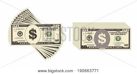 USA banking currency cash symbol 50 dollars bill. Banknotes fifty dollars. Vector in flat style. Isolated on white. Suitable for advertising promotions leaflet coupon flyer. Horizontal.