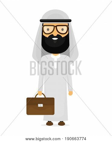 Arabian muslim businessman with briefcase in glasses. Vector flat cartoon character modern style illustration icon drawing Isolated on white background. Arab business concept