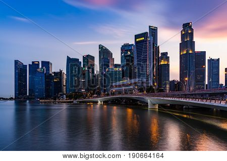 Singapore Skyline And Illuminated Financial District Night View, Downtown Urban