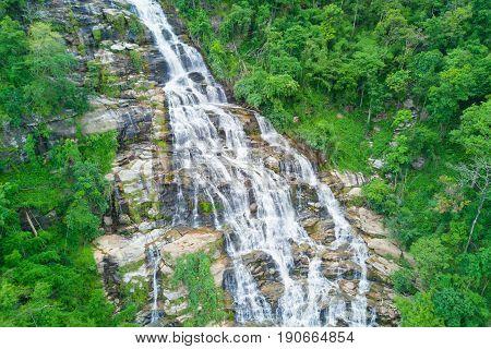 Aerial view of Mae Ya waterfall in rainy season at Doi Inthanon national park Chian Mai Thailand.