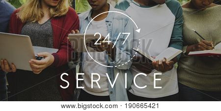 Customer Service 24 hours 7 Days Support Graphic