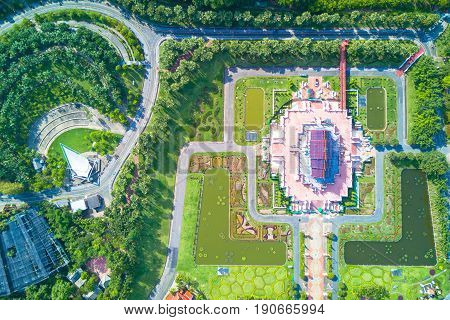 Aerial view of Ho kham luang traditional thai architecture in the Lanna style at Royal Park Rajapruek with beautiful green garden Chiang Mai Thailand.