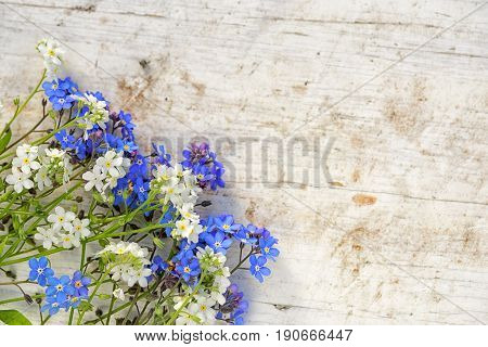 Forget-me-not Flowers Frame On An Old Wooden Background With Copy Space