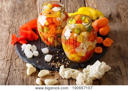 Italian Giardiniera Salad Of Pickled Vegetables Close-up. Horizontal