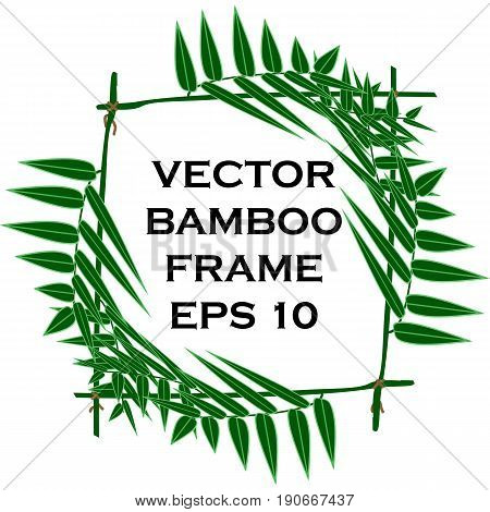 Isolated cartoon vector frame of bamboo branches tied with a rope. Used to decorate products in the style of cultures of Asia - China Korea Japan Thailand and India