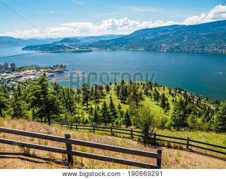 Kelowna British Columbia Canada on the Okanagan lake city view from mountain overlook