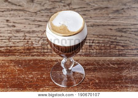 Classic Viennese coffee is on the bar in the cafe. Photo for menu place for text