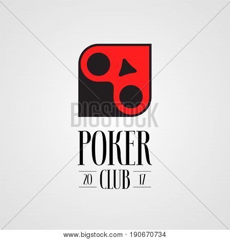 Poker, casino vector logo, sign. Nonstandard design element with cards suits for poker club