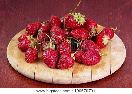 Strawberry. Fresh strawberry. Red strewberry. Strawberry Juice. Ripe red strawberries on wooden table