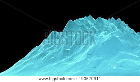 Digital Abstract Wireframe Landscape Background. 3D Illustration for your design