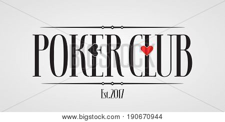 Poker, casino vector icon, logo. Design element with spade and heart for poker club identity