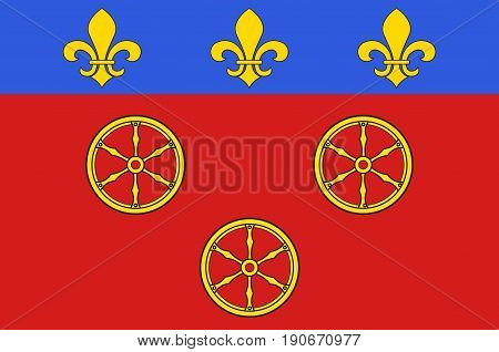 Flag of Rodez is a small city and commune in the South of France. Vector illustration