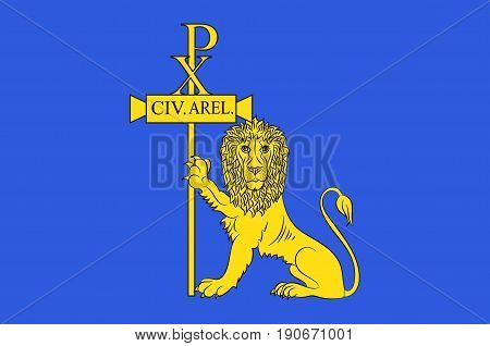 Flag of Arles is a city and commune in the south of France in the Bouches-du-Rhone department of which it is a subprefecture in the former province of Provence. Vector illustration