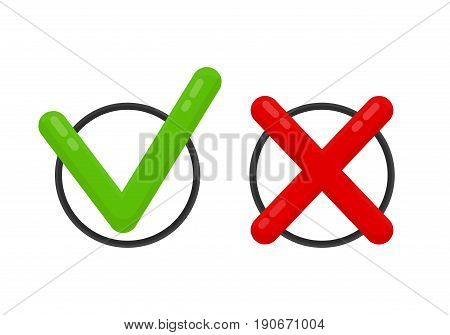Choose mark check mark icon red and green. Yes okay no concept Vector flat cartoon illustration modern syle icon design. Isolated on white background