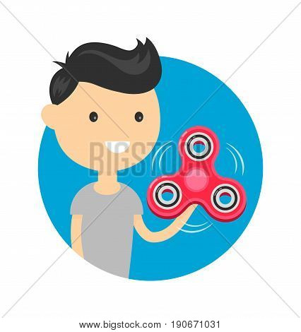 Young happy cute smiling boy man play with hand fidget spinner toy. Hand spinner twist tricks concept.Vector flat cartoon illustration modern syle icon design. Isolated on white background