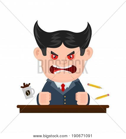 Angry scary scream boss businessman. Vector flat cartoon character illustration modern syle icon design. Isolated on white background