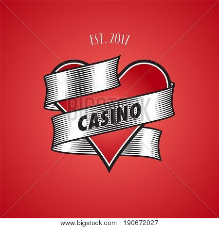 Casino, poker vector logo. Illustration with cards suit heart for gambling business