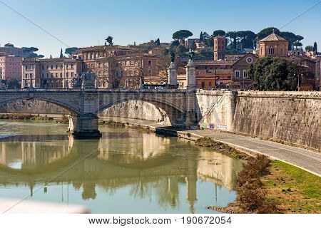 Rome, Italy. View from Sant Angelo bridge along Tiber River.
