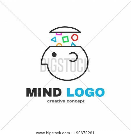 Mind logic creative logo design. Vector modern flat style cartoon character illustration icon design.Isolated on white background. Concept smart brain head. think decision human head gain knowledge
