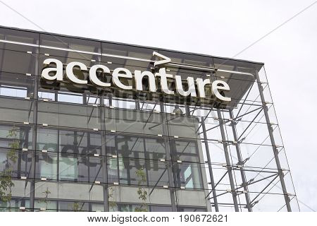 PRAGUE CZECH REPUBLIC - MAY 22: Accenture global professional services company logo on Czech headquarters building on May 22 2017 in Prague Czech republic. In 2016 Fortune magazine named it the worlds most admired Information Technology Services company.