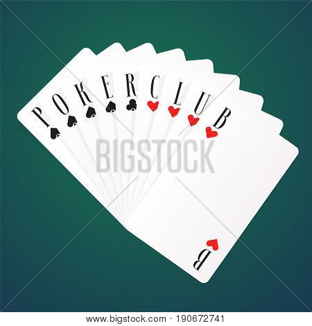 Poker night vector logo, icon. Template design element with playing cards for poker tournament