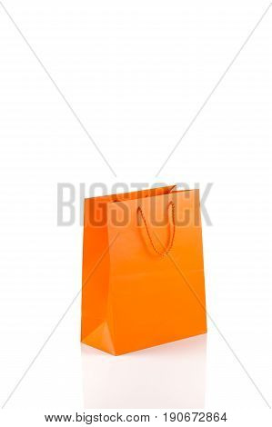 Orange Paper Bag Isolated On White Diagonal Angle